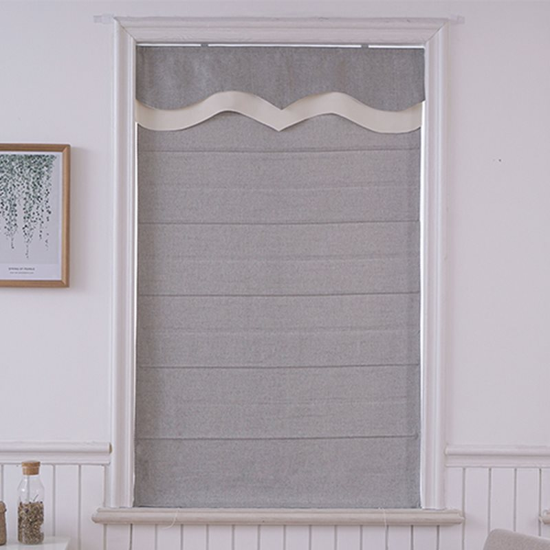 Solid Color Modern Sample Cotton and Linen Blending Flat-Shaped Roman Shades