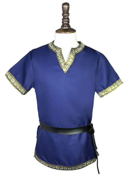 Milanoo Men Vintage Clothing V Neck Mid Ages Short Sleeve Retro Top ( No Belt)