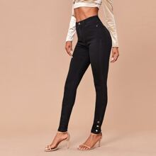 Zipper Fly Button Side Solid Jeans