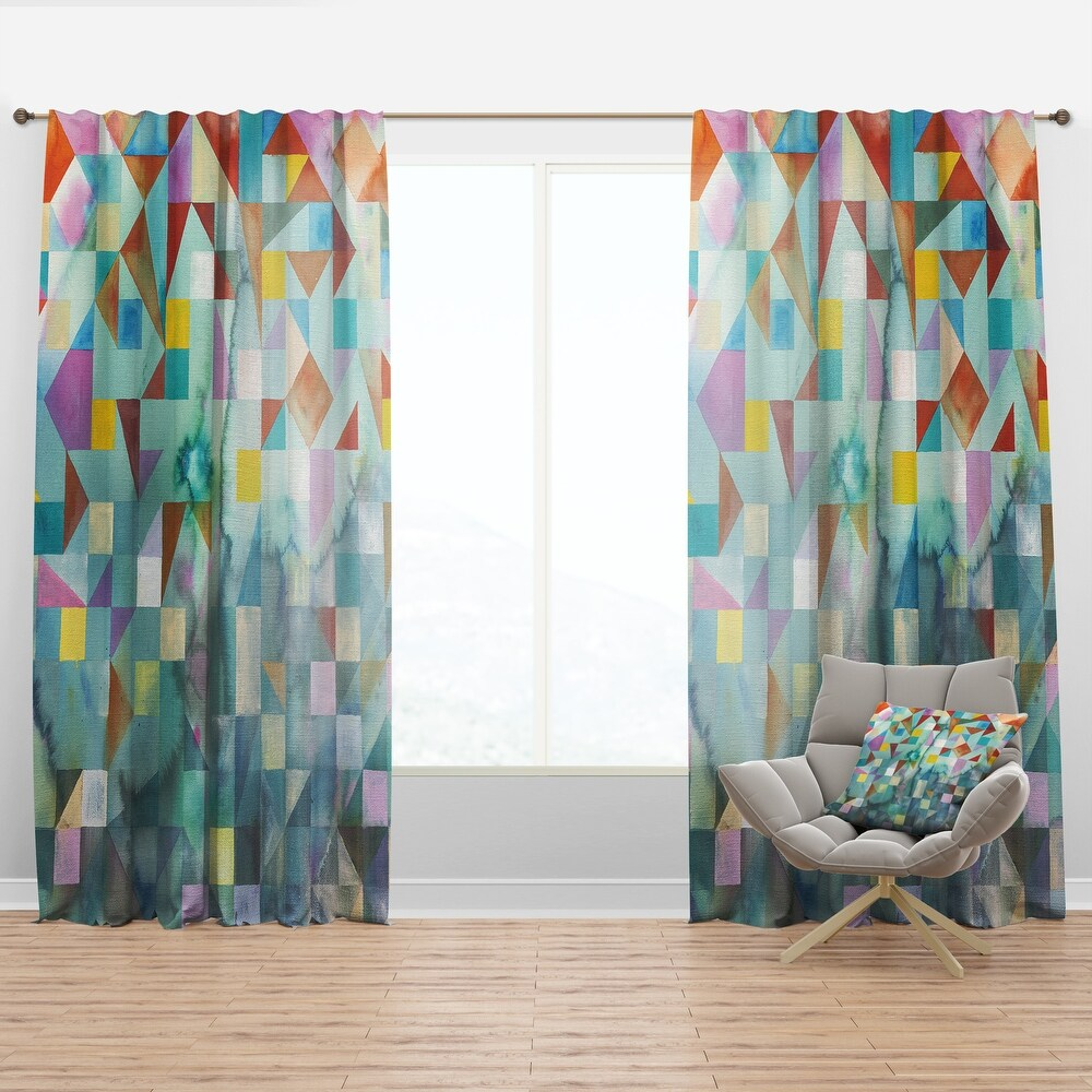 Designart 'Modern Patchwork' Modern & Contemporary Curtain Panel (50 in. wide x 63 in. high - 1 Panel)