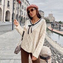 Cable Knit Contrast Collar Knot Sweater