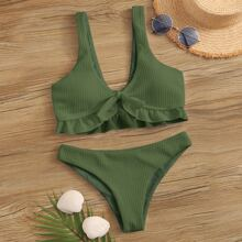 Texturierter Bikini Badeanzug mit Raffung und Knoten