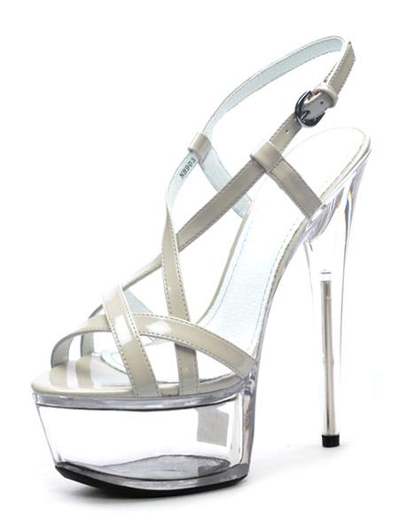 Milanoo Sandalias sexis para mujer, plataforma de albaricoque, cuero PU, punta abierta, tiras, tacon alto, zapatos sexis