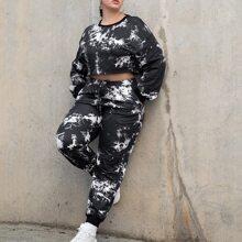 Pullover mit Batik & Jogginghose Set