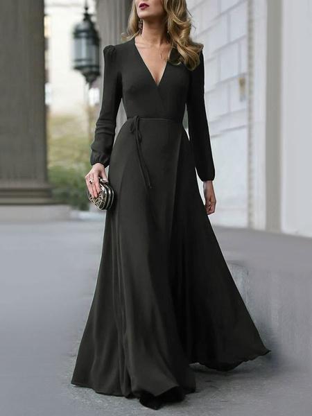 Milanoo Maxi Dress Long Sleeves Dark Green V Neck Long Dress