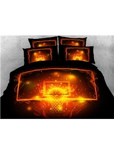 Glowing Basketball 3D Duvet Cover Sets 4-Piece Sports Style Bedding Sets