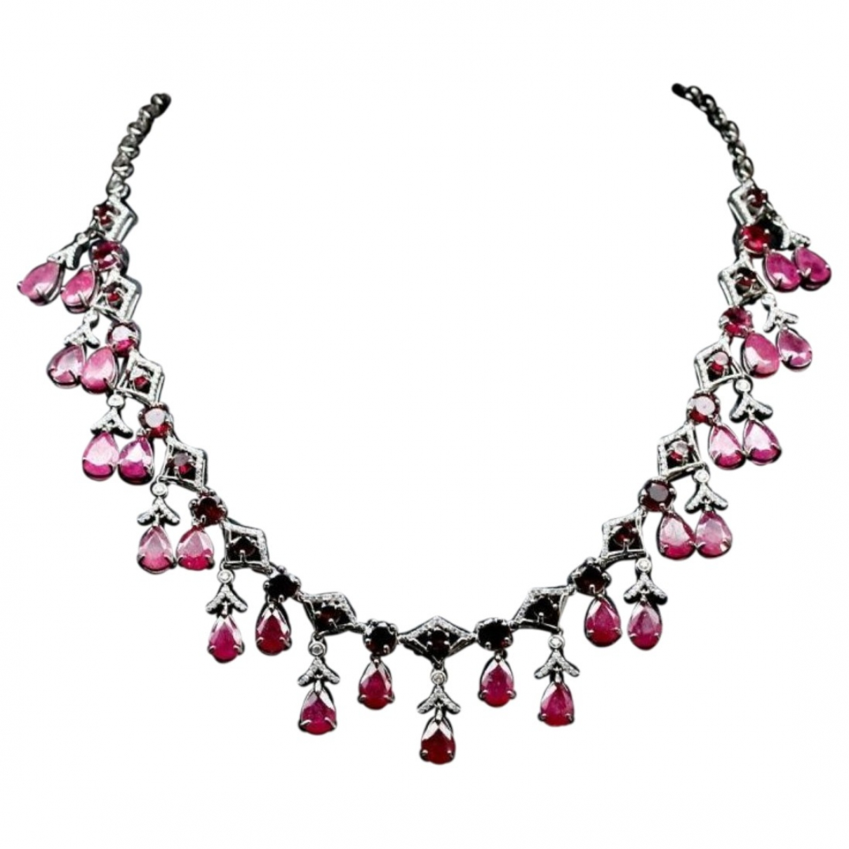 Non Signé / Unsigned Rubis Burgundy Silver Jewellery set for Women \N