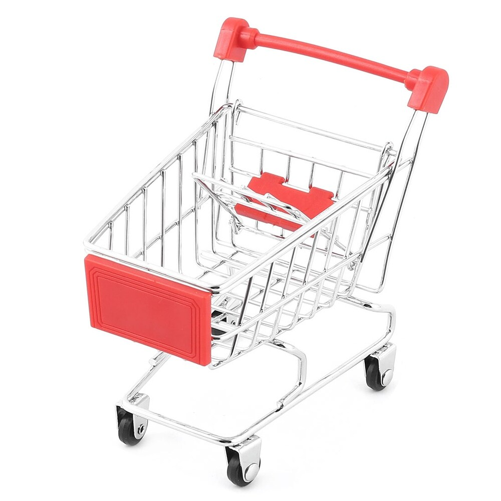 Household Desktop Metal Mini Shopping Handcart Trolly Storage Container Cart Red - Red,silver Tone,black (Red,silver Tone,black)