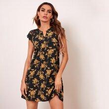 Notched Neck Guipure Lace Shoulder Floral Dress