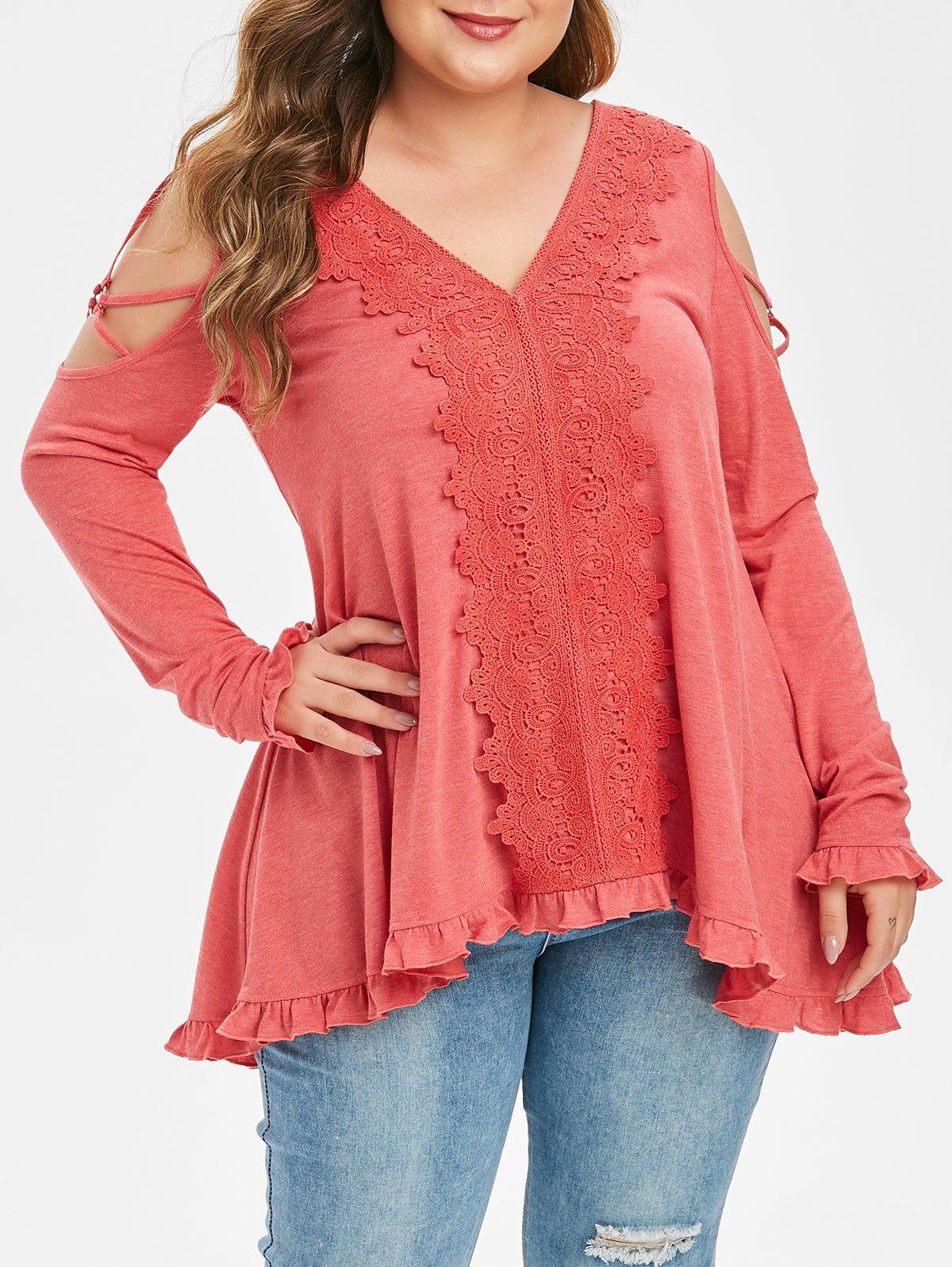 Plus Size Cold Shoulder Lace Applique Strappy T Shirt