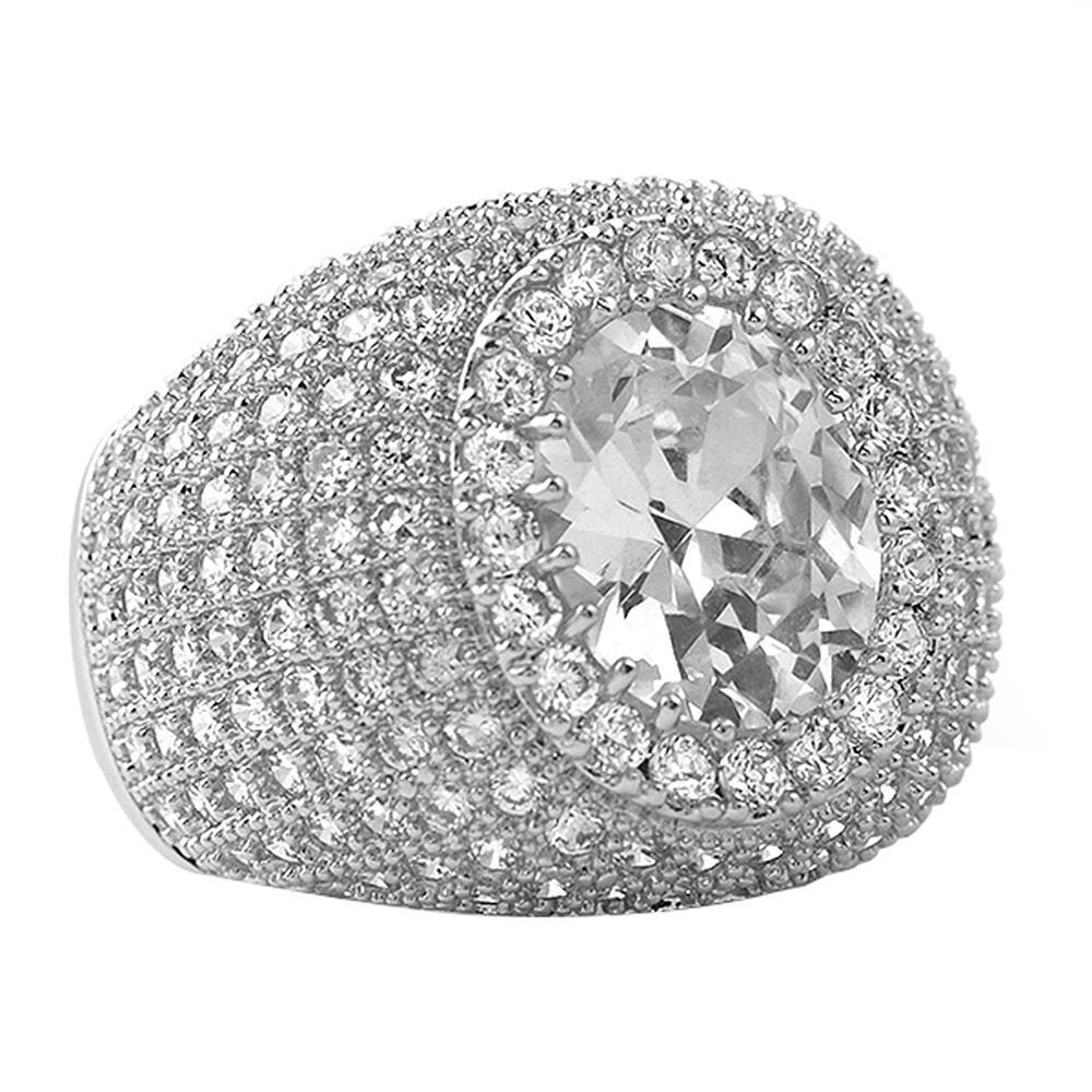 Masterpiece Rhodium CZ Bling Bling Ring