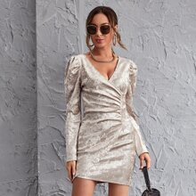 Leg-of-mutton Sleeve Ruched Front Dress
