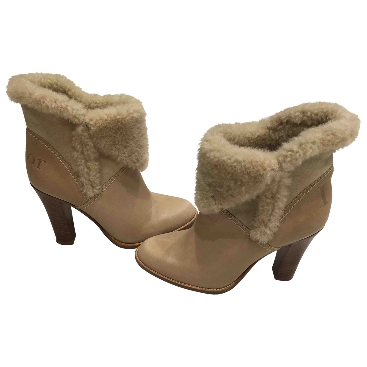 Dior \N Beige Leather Ankle boots for Women 36 EU