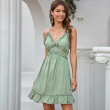 Zip Back Frill Trim Solid Cami Dress