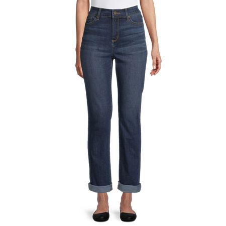 St. John's Bay Womens Mid Rise Straight Leg Jean, 18 , Blue