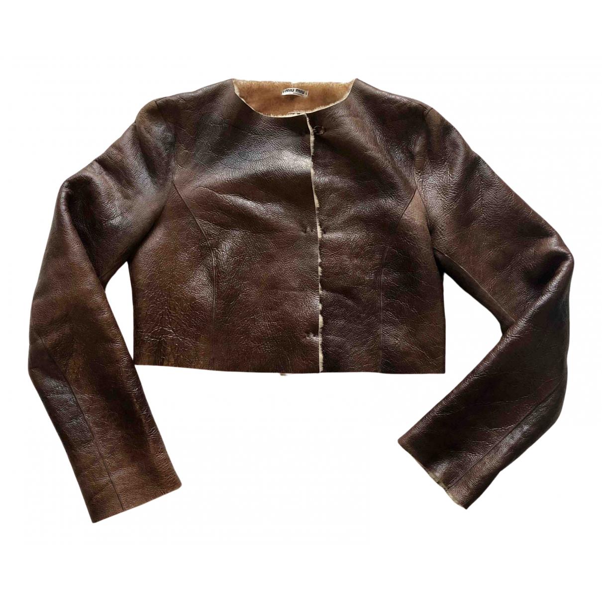 Miu Miu N Brown Fur jacket for Women 42 IT
