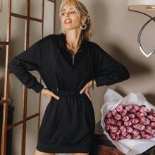 Drop Shoulder Elastic Waist Half Placket Drawstring Hooded Sweatshirt Dress