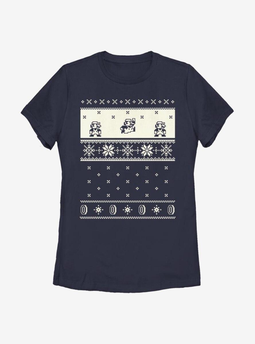 Nintendo Super Mario Pixel Retro Christmas Pattern Womens T-Shirt