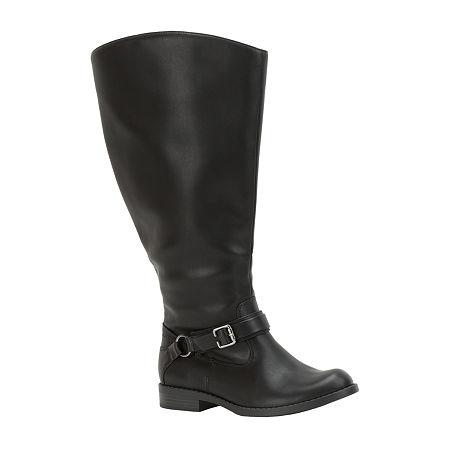 Easy Street Womens Quinn Plus Plus Riding Boots Flat Heel, 9 1/2 Extra Wide, Black