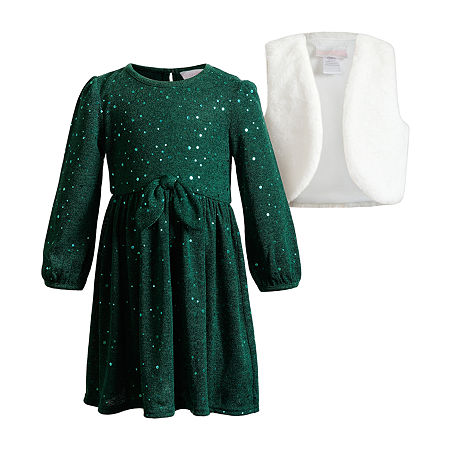 Sweetheart Rose Toddler Girls Long Sleeve Dress Set, 3t , Green