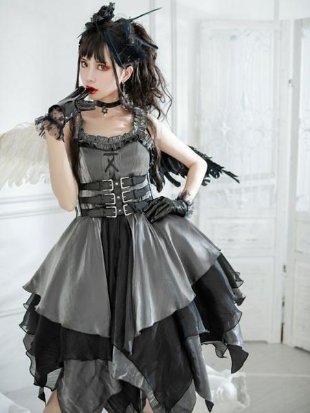 Milanoo Customized Sweet Gothic Lolita Dress The Seven Deadly Sins Lust Deep Purple Sleeveless Floral Print Cascading RufflesPolyester Bows Lolita J