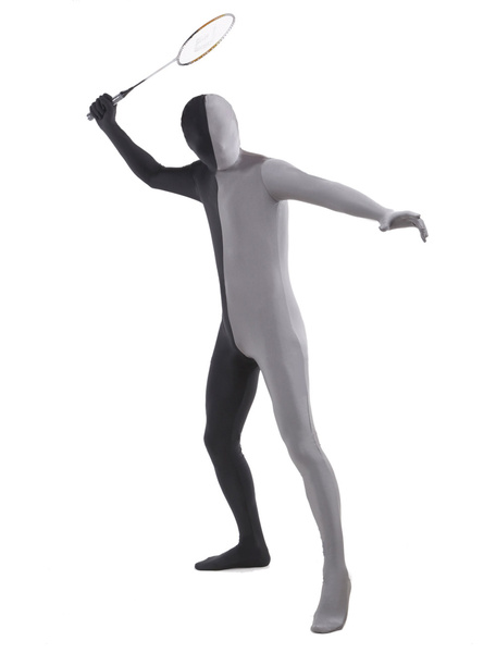 Milanoo Morph Suit Black and Grey Lycra Spandex Fabric Zentai Suit Unisex Full Body Suit