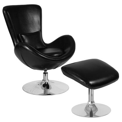 Egg Collection CH-162430-CO-BK-LEA-GG Reception Chair and Ottoman Set with Swivel Seat  Chrome Pedestal Base  Integrated Curved Arms  Lumbar Pillow