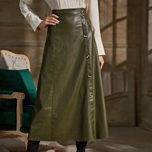 Button Front PU Leather Skirt