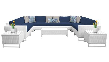 Miami MIAMI-12a-NAVY 12-Piece Wicker Patio Furniture Set 12a with 2 Corner Chairs  5 Armless Chairs  2 End Tables  1 Coffee Table  1 Left Arm Chair