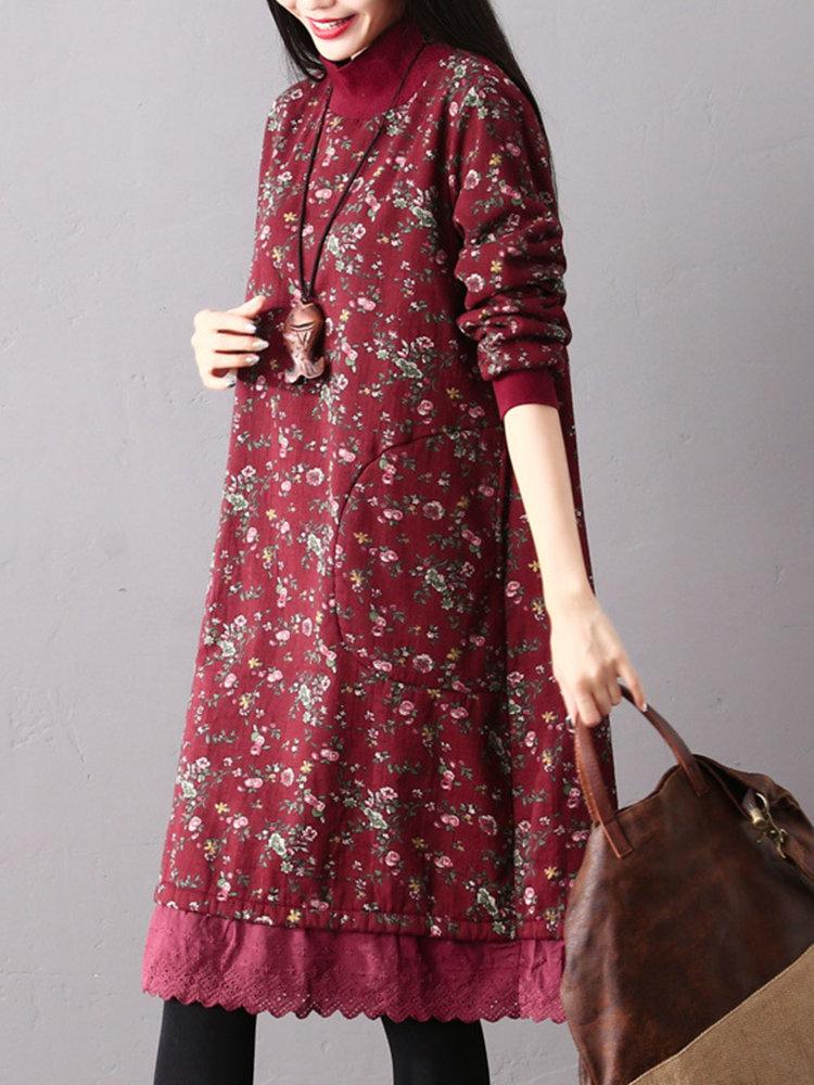 Vintage Print Turtleneck Mid Length Dress