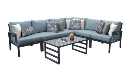 Lexington LEXINGTON-07b-SPA 7-Piece Aluminum Patio Set 07b with 3 Armless Chairs  1 Left Arm Chair  1 Right Arm Chair  1 Corner Chair and 1 Coffee