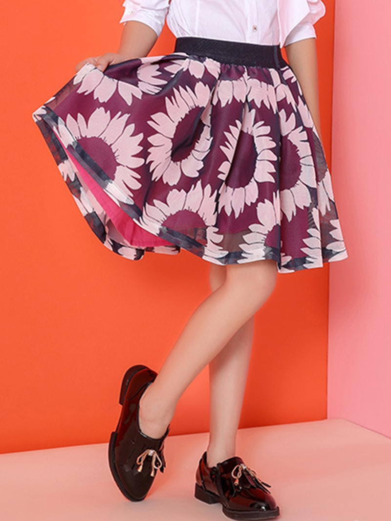 Ericdress Pleated Mesh Floral Printed Elastic Girls Bottoms