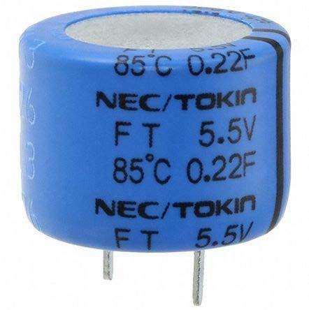 KEMET 0.22F Supercapacitor -20 → +80% Tolerance, Supercap FT 5.5V dc, Through Hole (400)