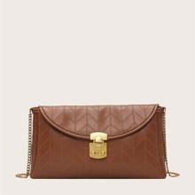 Metal Lock Stitch Detail Chain Bag