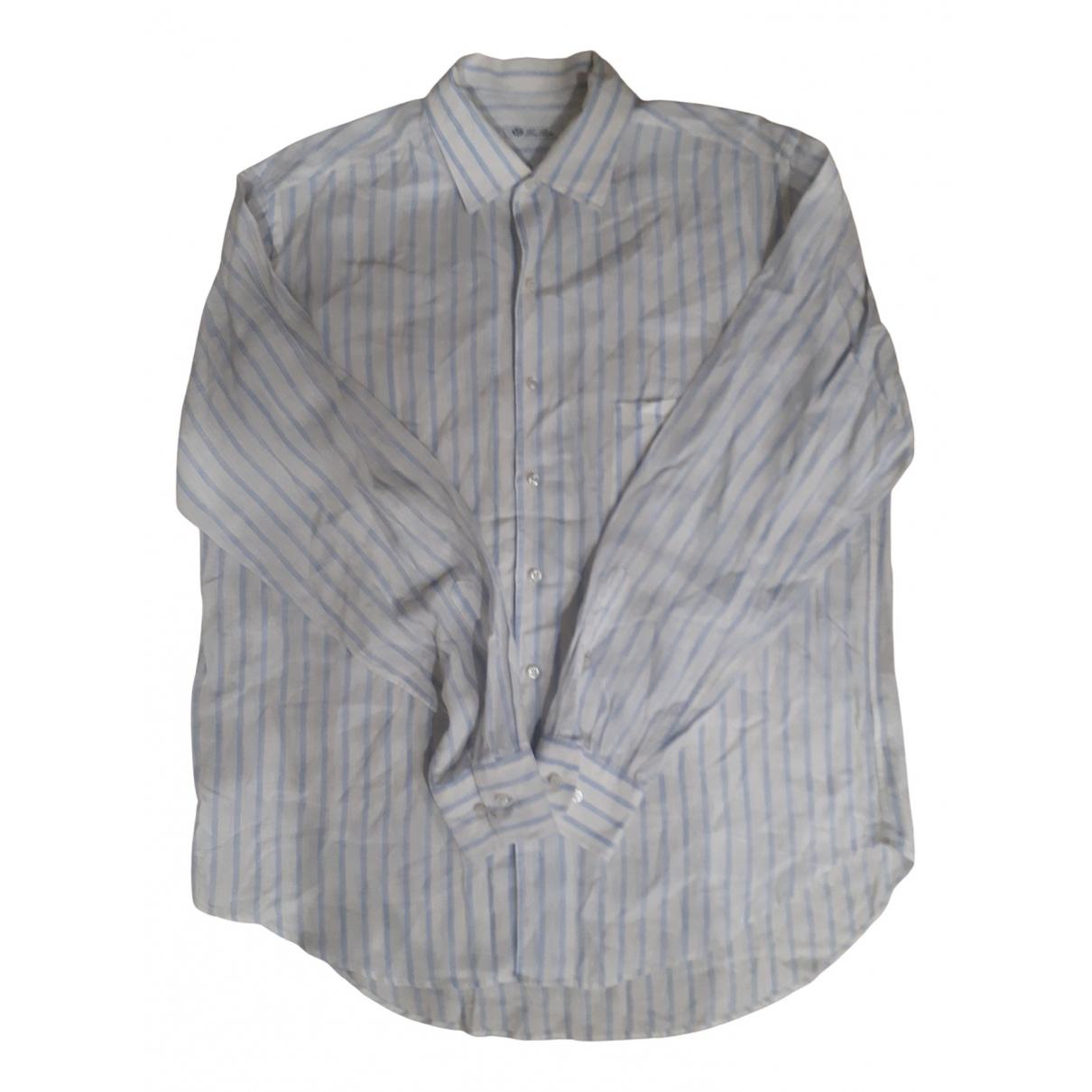 Loro Piana N White Linen Shirts for Men XXL International
