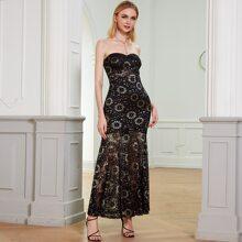 Angel-Fashions Ballkleid mit Spitze und Meerjungfrau Design