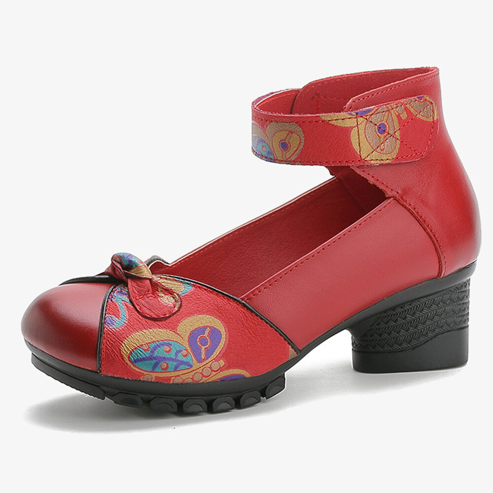 Vintage Frog Buttons Hook Loop Casual Leather Pumps