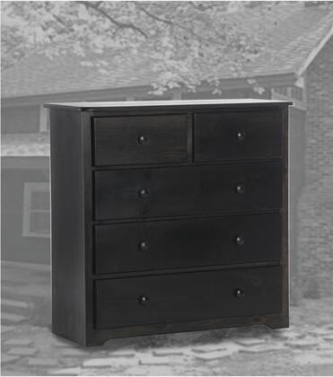 Freetown Collection 85454419-BW 68 Super Deluxe Chest with 5 Drawers  Square Shape  Wood Base in Black Wash