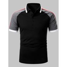 Men Colorblock Side Striped Polo Shirts