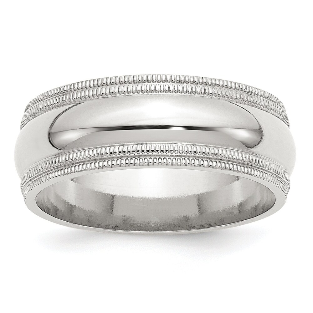 Sterling Silver 8mm Comfort Fit Double Milgrain Band by Versil (13.5)