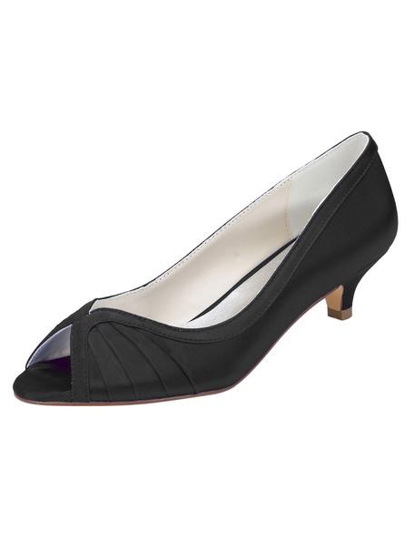 Milanoo Zapatos de novia de seda sintetica Zapatos de Fiesta de tacon de kitten Zapatos negro  Zapatos de boda de punter Peep Toe 4cm con pliegues
