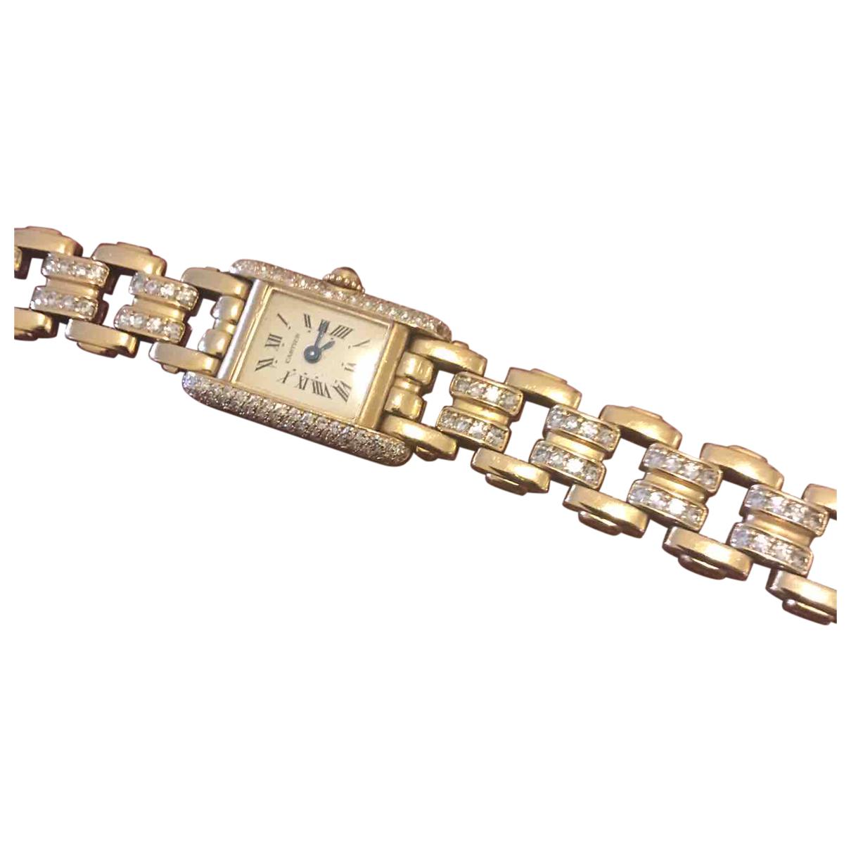 Cartier - Montre Tank Francaise pour femme en or jaune - dore