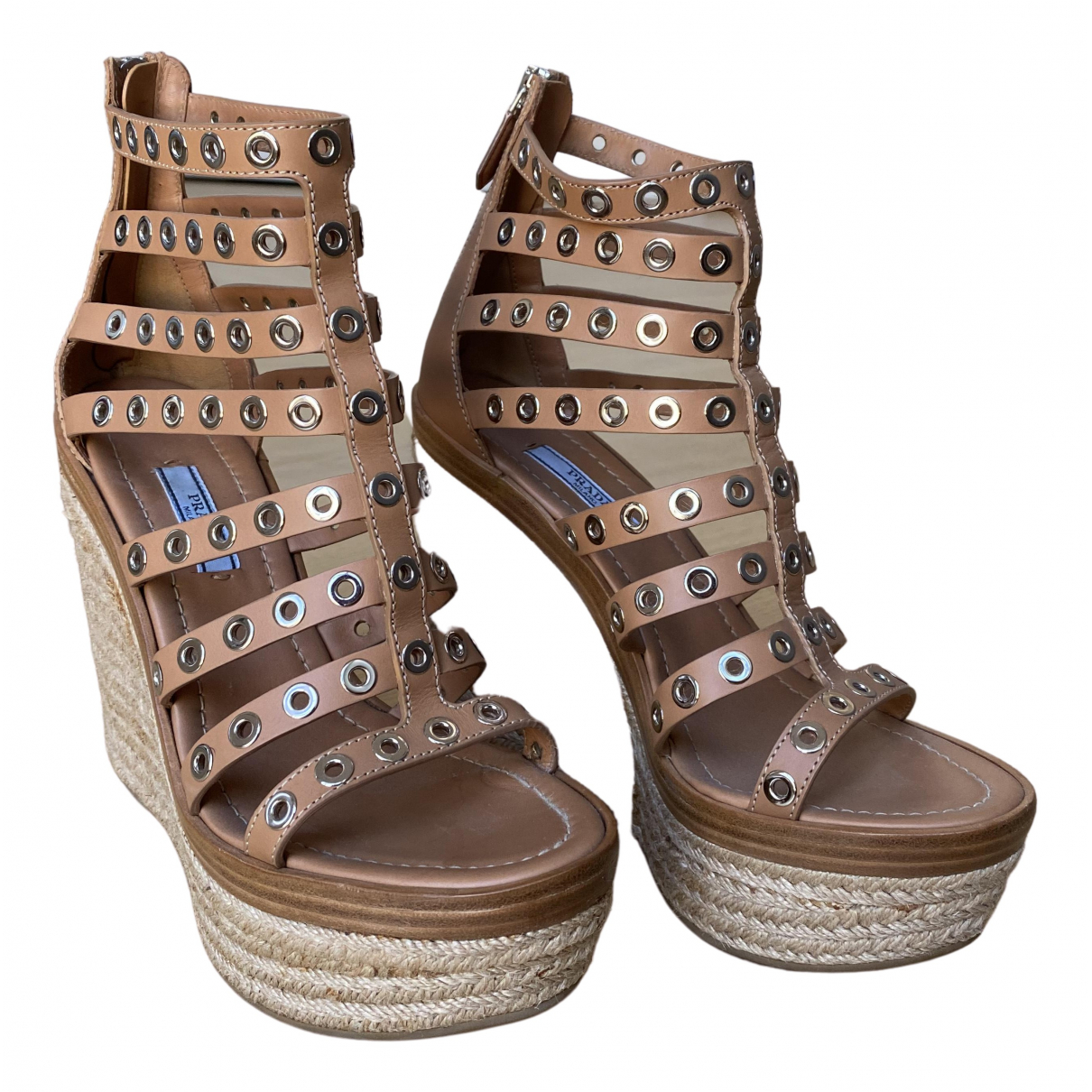 Prada N Beige Leather Espadrilles for Women 39 EU