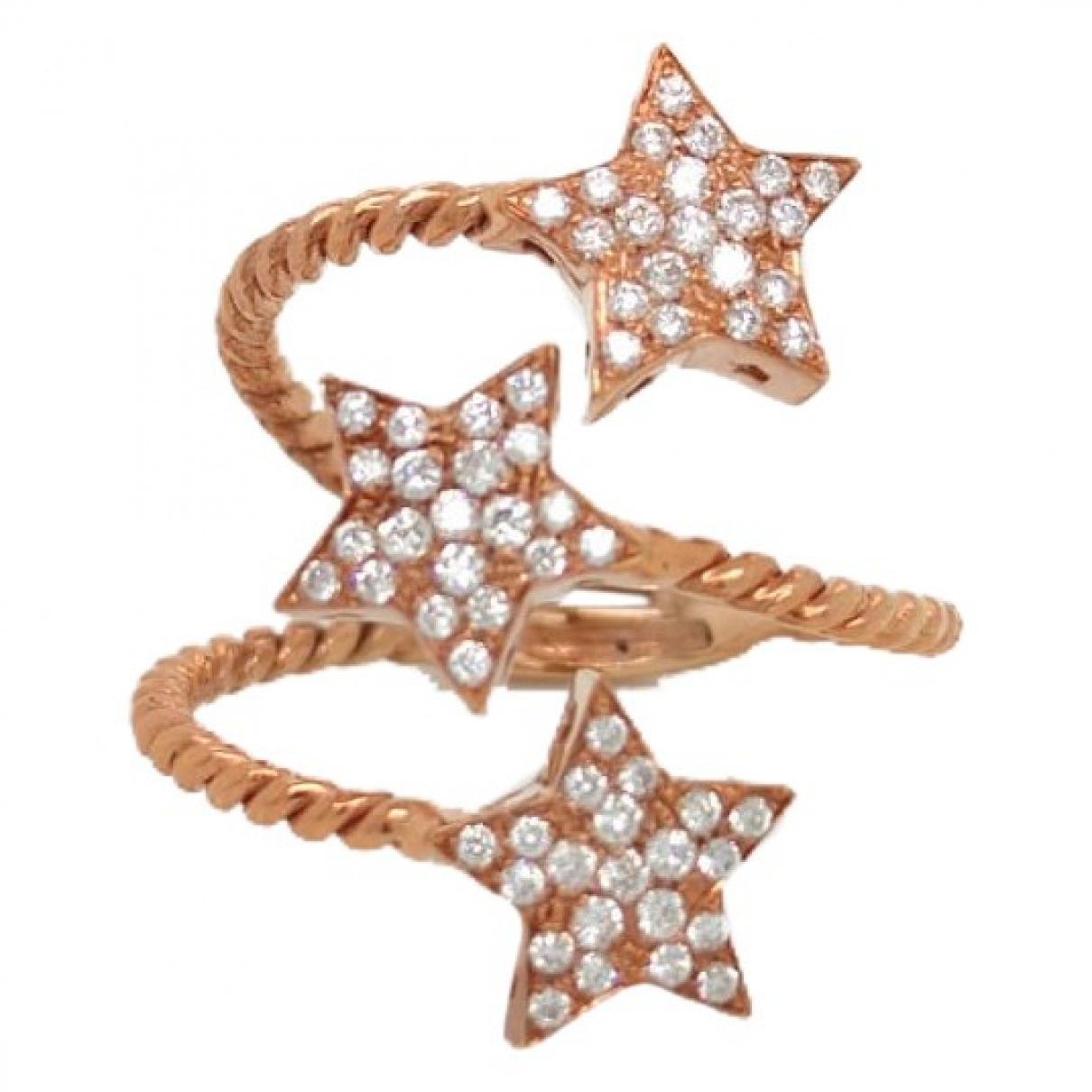 Non Signe / Unsigned Motifs Etoiles Ring in  Rosa Rosegold