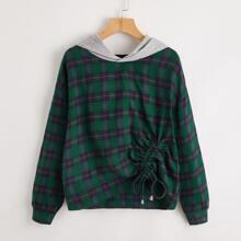 Tartan Drawstring Front Contrast Hooded Sweatshirt