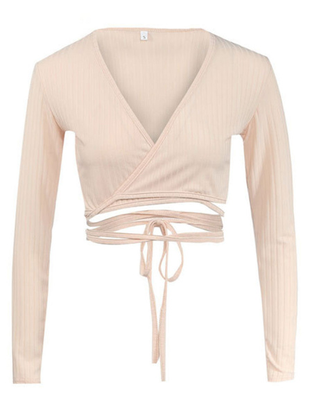 Milanoo Sexy Crop Top Long Sleeve V Neck Strappy T Shirt For Women