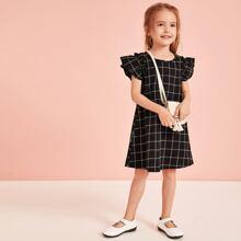Toddler Girls Plaid Ruffle Sleeve Dress