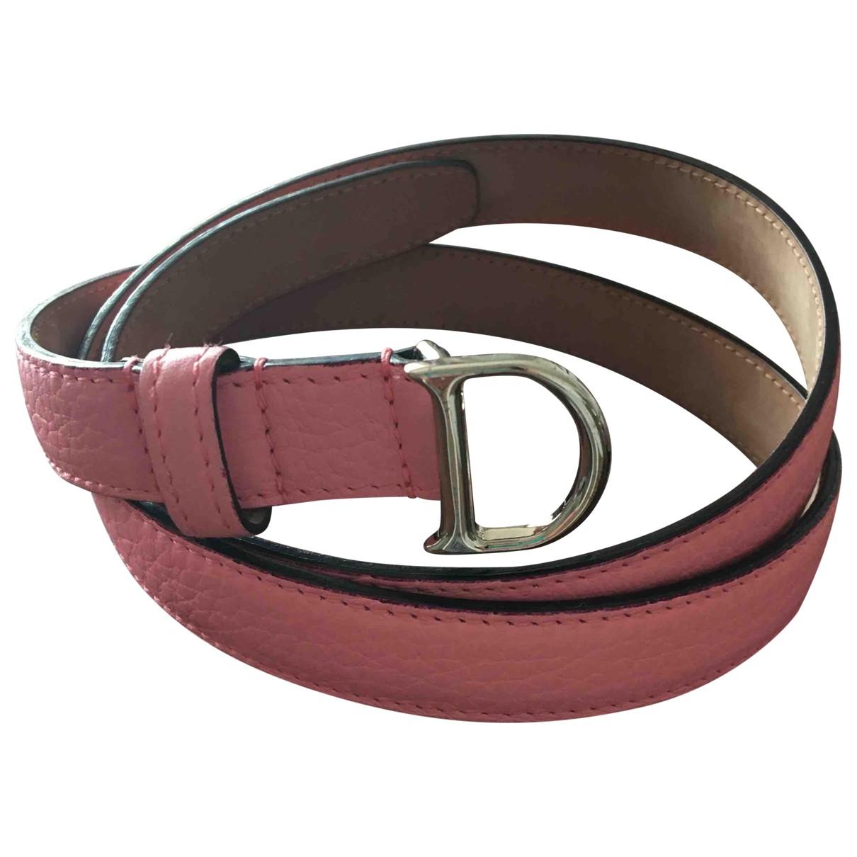 Dior \N Pink Leather belt for Women 85 cm