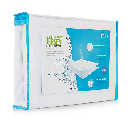 Lucid Rayon from Bamboo Jersey Mattress Protector, One Size , White