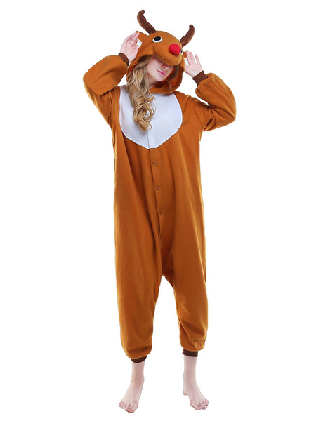 Milanoo Kigurumi Pajamas Reindeer Onesie Flannel Brown Animal Winter Sleepwear For Adult Unisex Costume Halloween